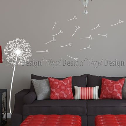 #Livingroom, Dandilion Decorations | Cozy Wall Decals For Your Decorated  Home | IHomeidea Intelligent
