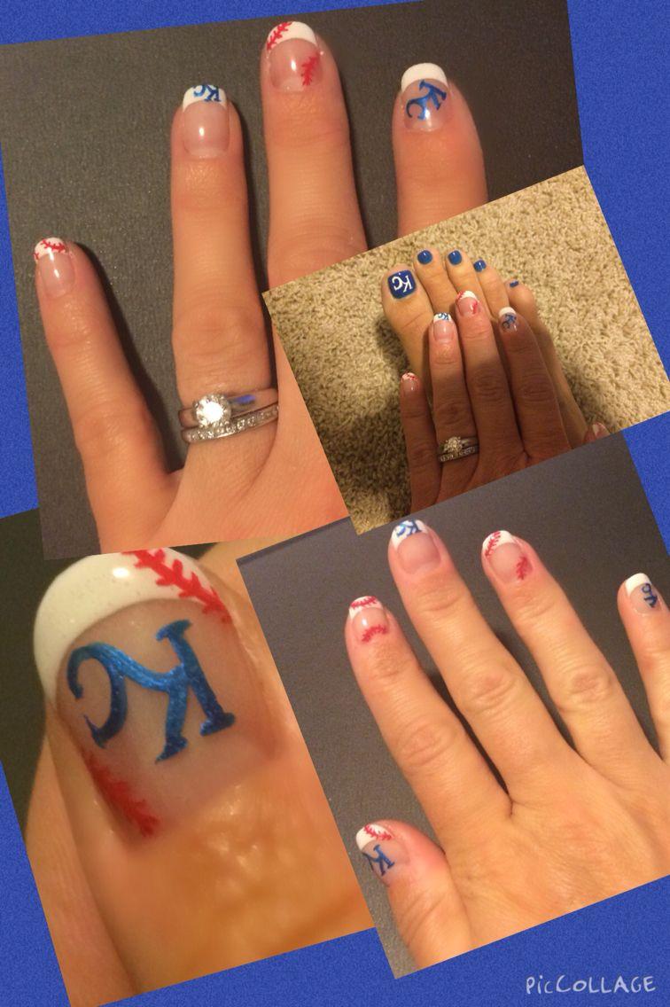Kc Royals! By Long at Nail Art in Shawnee | hair, nails, face ...