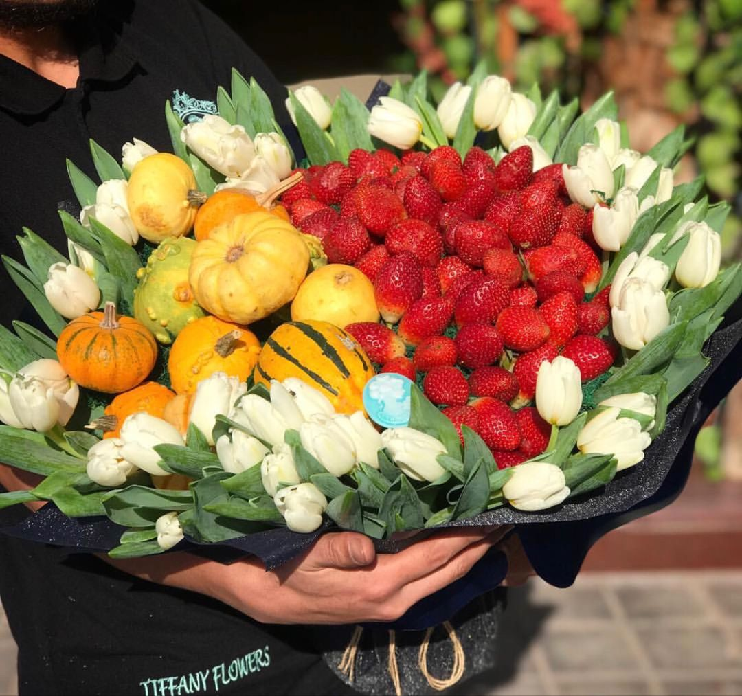 Flower Bouquet With Strawberries And Fruits