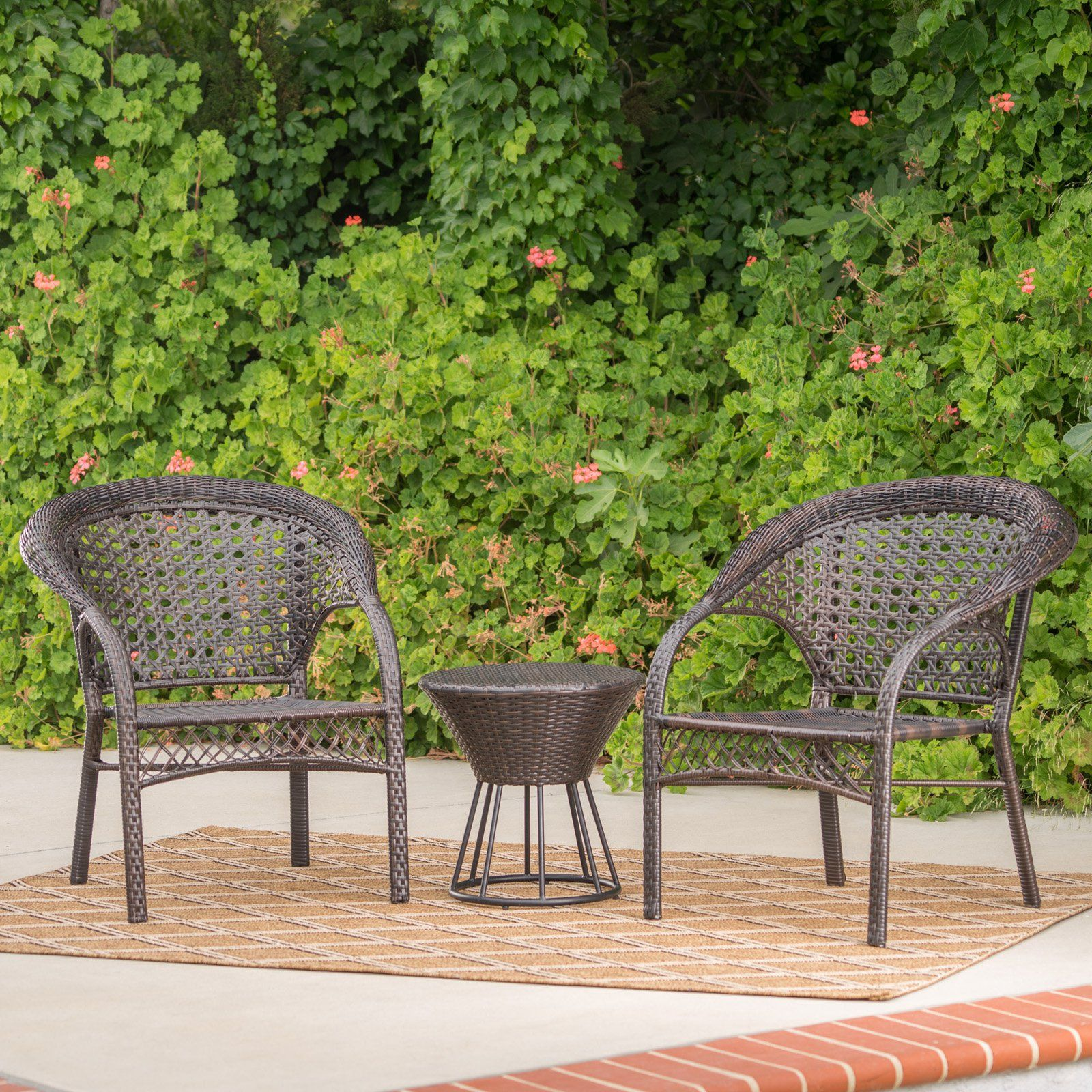Hitchcock Wicker 3 Piece Outdoor Stacking Chair Chat Set Outdoor