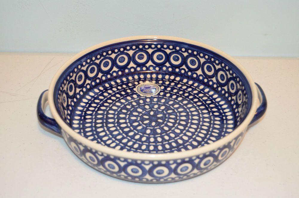 "Polish Pottery Handmade in Poland 8"" Pie Plate-Brand New"