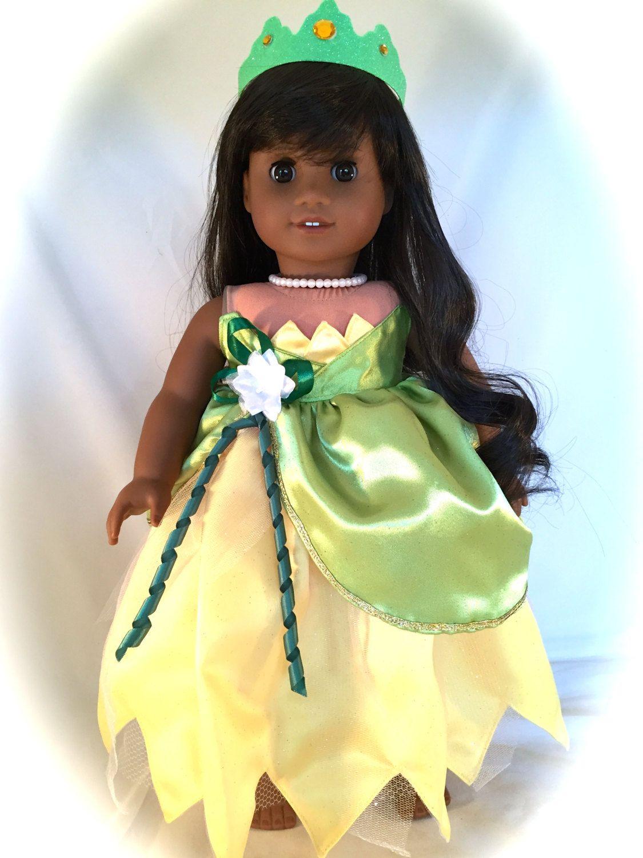 American Girl Doll dressed in Princess Tiana styled Wedding Dress ...