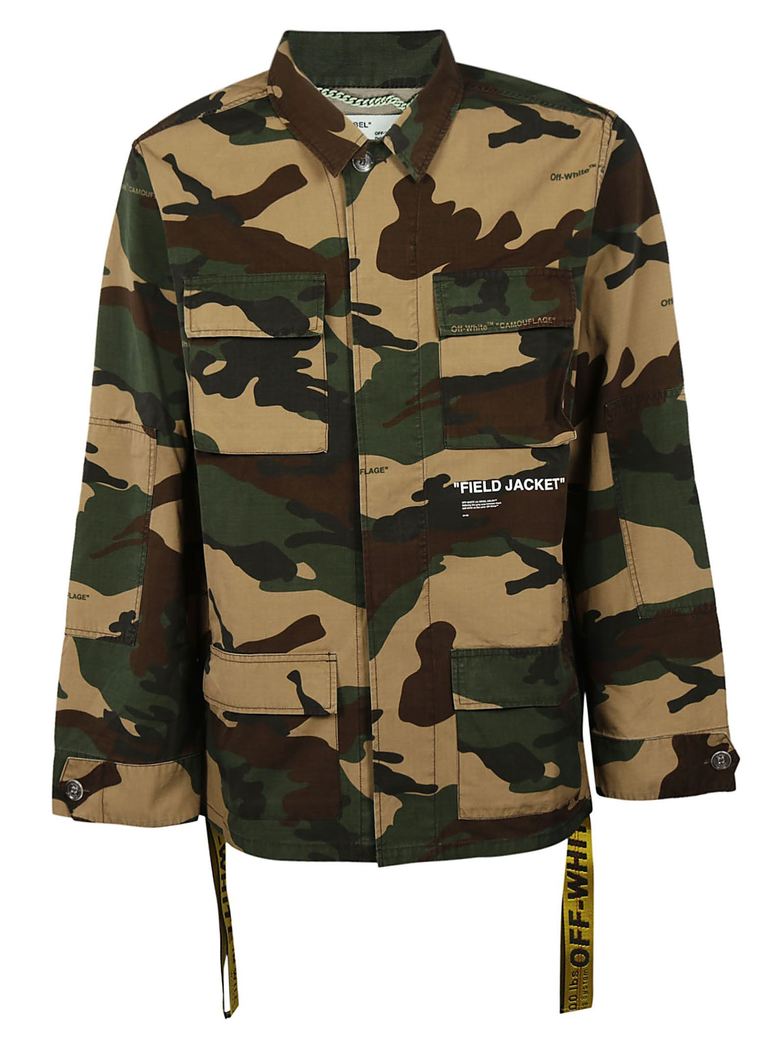 Cotton White Off Oversized Print Trimmed Canvas Camouflage Field pZ1xwn