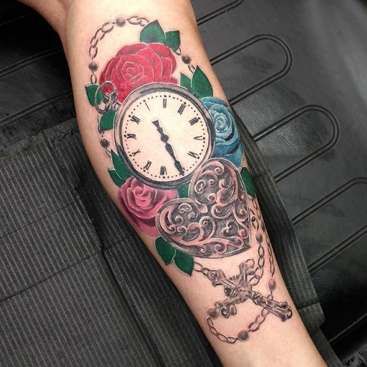 Clock tattoo by mj from warlocks tattoo inc 20170817