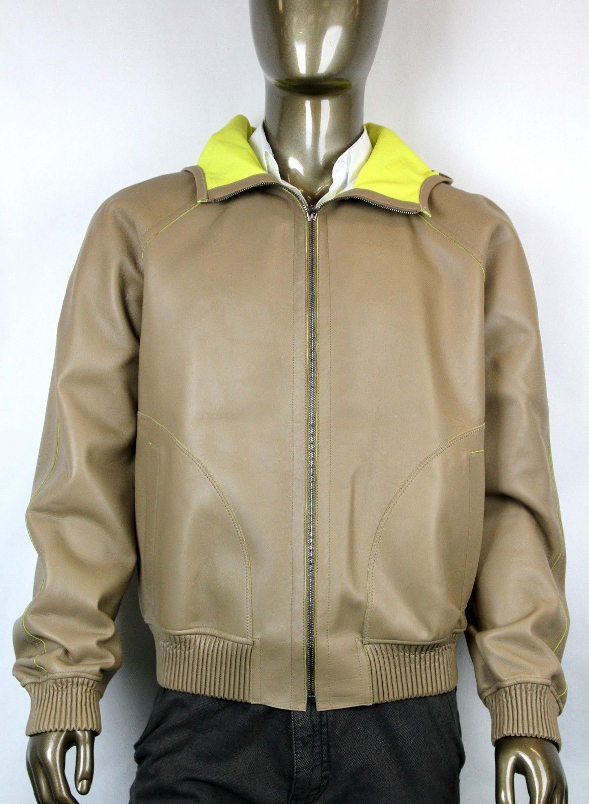 NEW Gucci Mens Leather Bomber Jacket w/Hood Brown IT 52/US