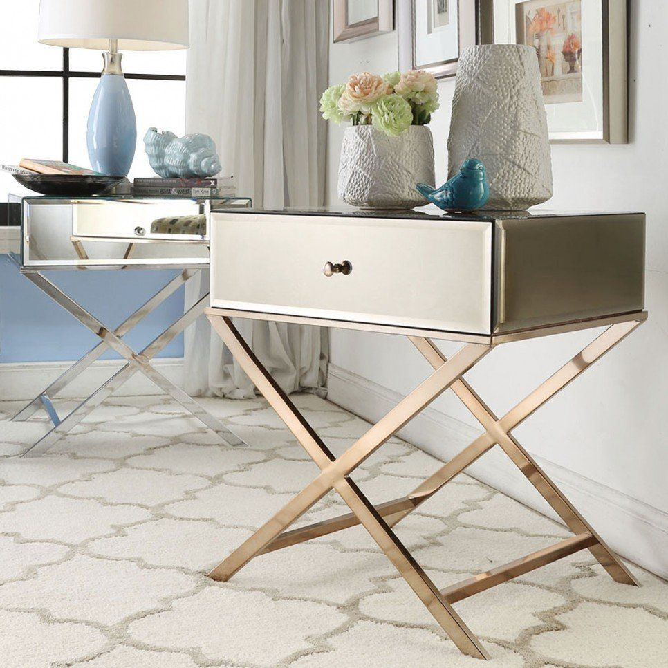 Furniture Simple Modern Mirrored Accent Table With Drawer And Stainless Steel X Cross Legs Ideas Mirrored Ac Mirrored Accent Table Sofa End Tables Furniture