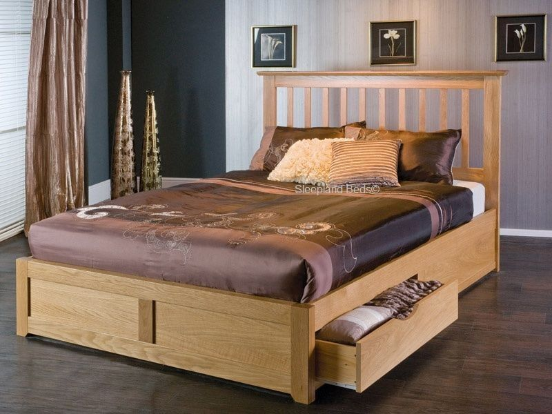 oak storage bed with drawers limelight bianca bed frame kingsize - Storage Bed Frames