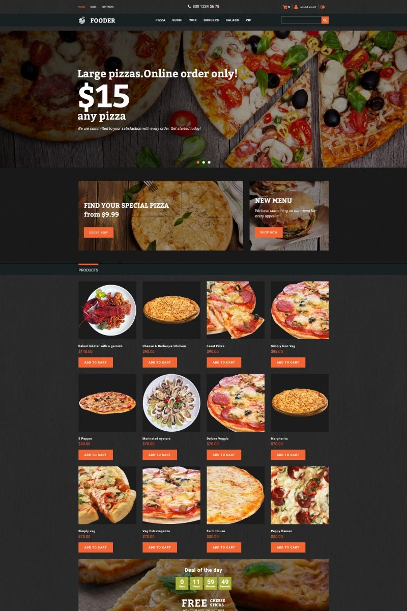 fooder pizza restaurant motocms ecommerce template game ios