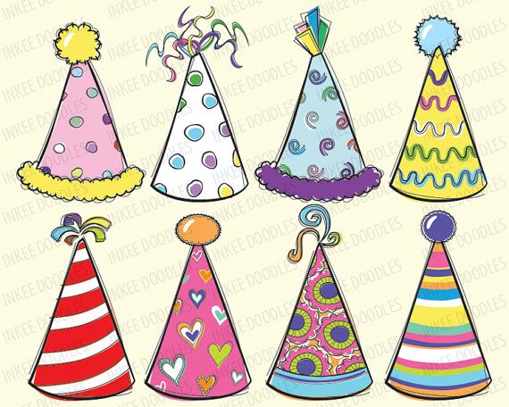 Doodles Party Hats Cute Kids Birthday Celebration By Inkeedoodles