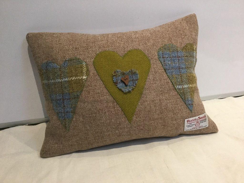 Handmad Harris Tweed heart applique cushion, Valentines, Mothers Day ...