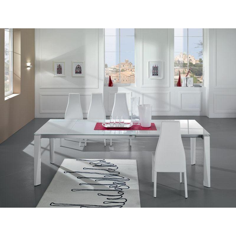 Tavolo rettangolare allungabile Friulsedie Matrix con piano in vetro ...