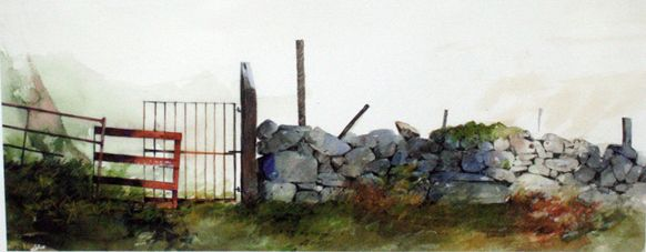 Stone Wall, Open Edition Print (Giclee) from an original watercolour ...