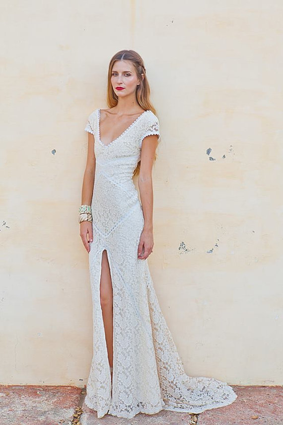 Stretch Lace Bohemian Wedding Dress  bd07338c0