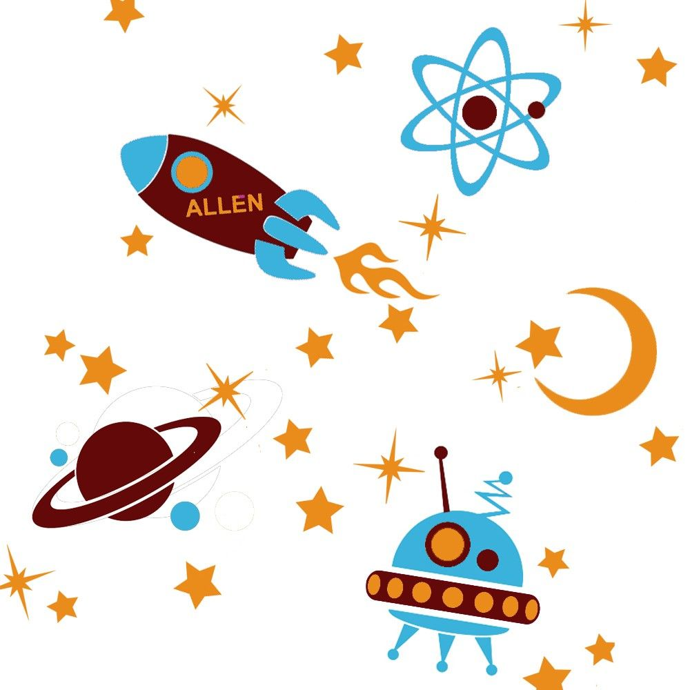 Personalized Outer Space Kids Wall Decals Ufo Rocket