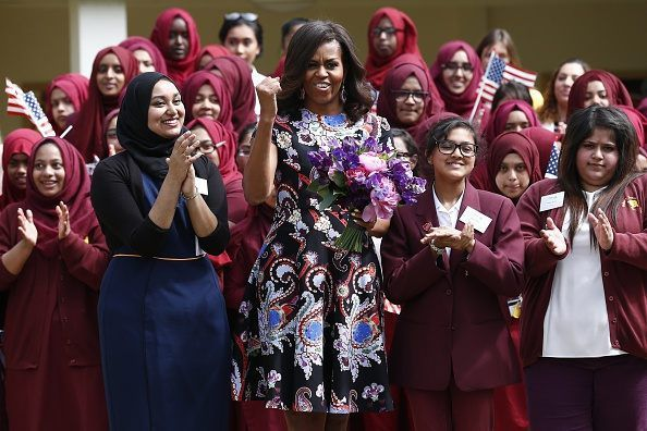 Michelle Obama visits UK terror enclave, says 'see's herself' in hijab-covered Muslim girls | Creeping Sharia