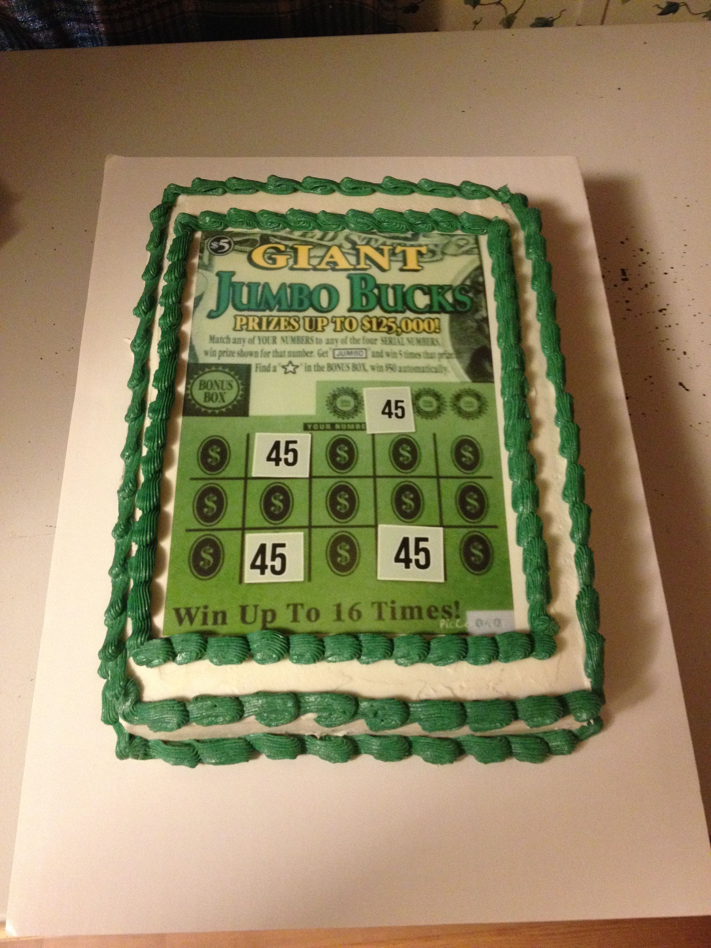 Lottery Ticket Birthday Cake With Highlighted Age For Winning