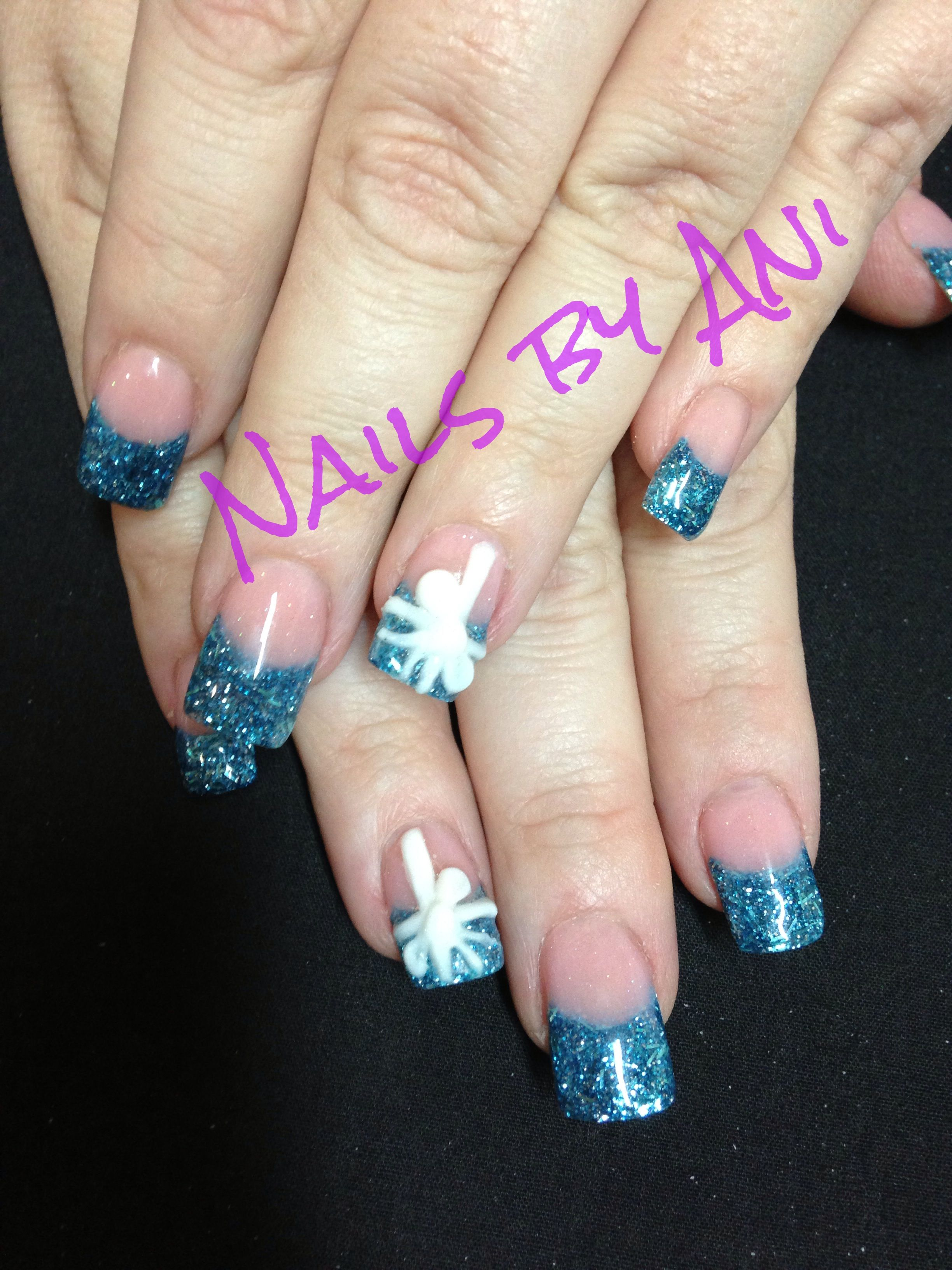 3d blue gift wrapped nails   Acrylic nail designs   Pinterest ...