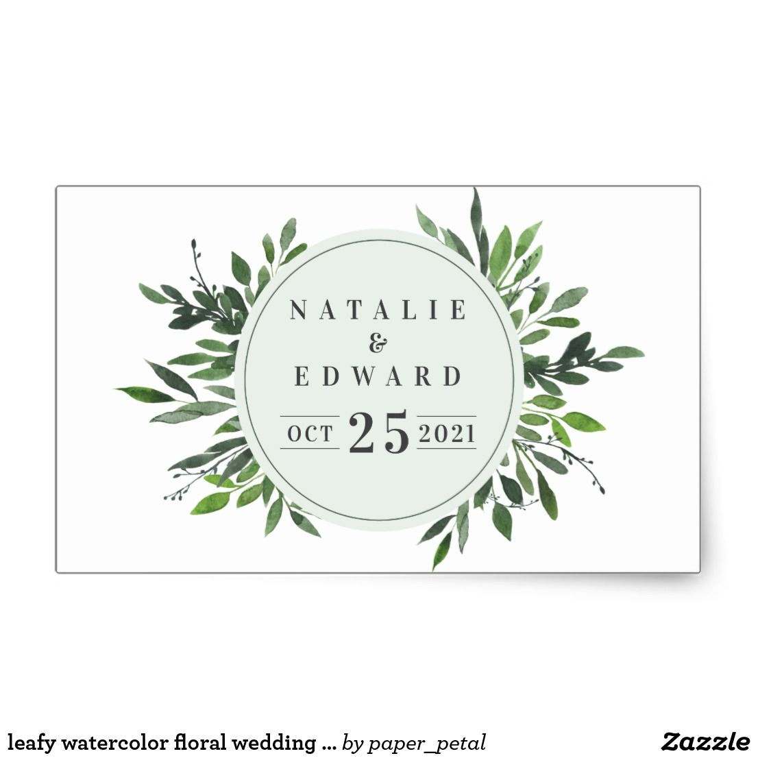 Leafy Watercolor Floral Wedding Name Stickers Leafy Watercolor