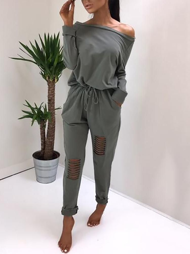 bcf35274af5 Stylish Ripped Skew Neck Drawstring Casual Jumpsuit