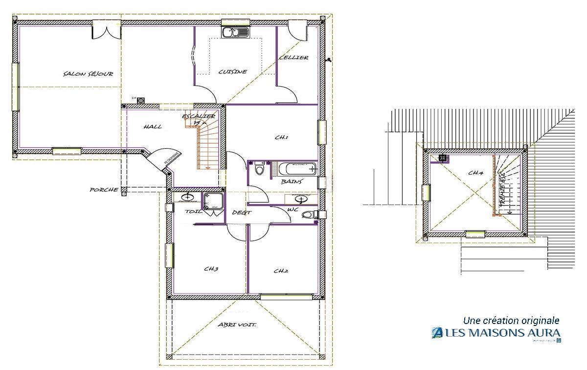 Plan d de maison plan de maison d architecte plan de for Plan architecte maison