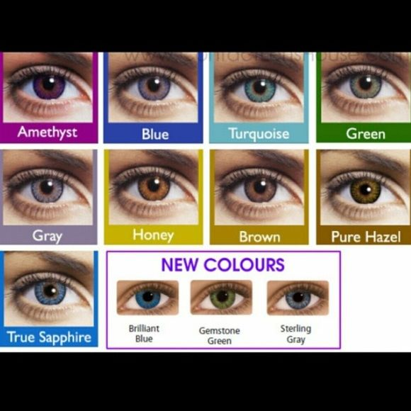 f268e5bc55a Colored Contact Lenses + Case One Pair of FreshLook Contact Lenses + Case  •Brilliant Blue •True Sapphire• Green• Gemstone Green• Brown • Pure Hazel•  Blue ...