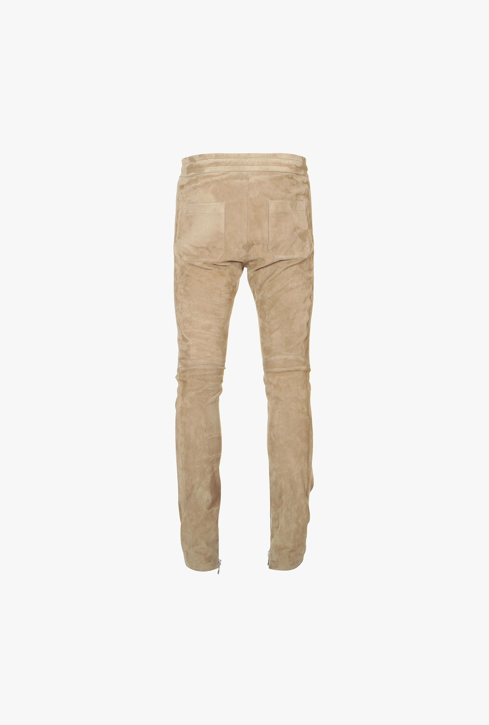 Balmain Slim fit biker style suede sweatpants Mens