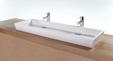 I Want A Single Sink Vessel But Dual Faucets For Double Sink Usage This May Be One G Modern Bathroom Sink Rectangular Sink Bathroom Modern Bathrooms Interior