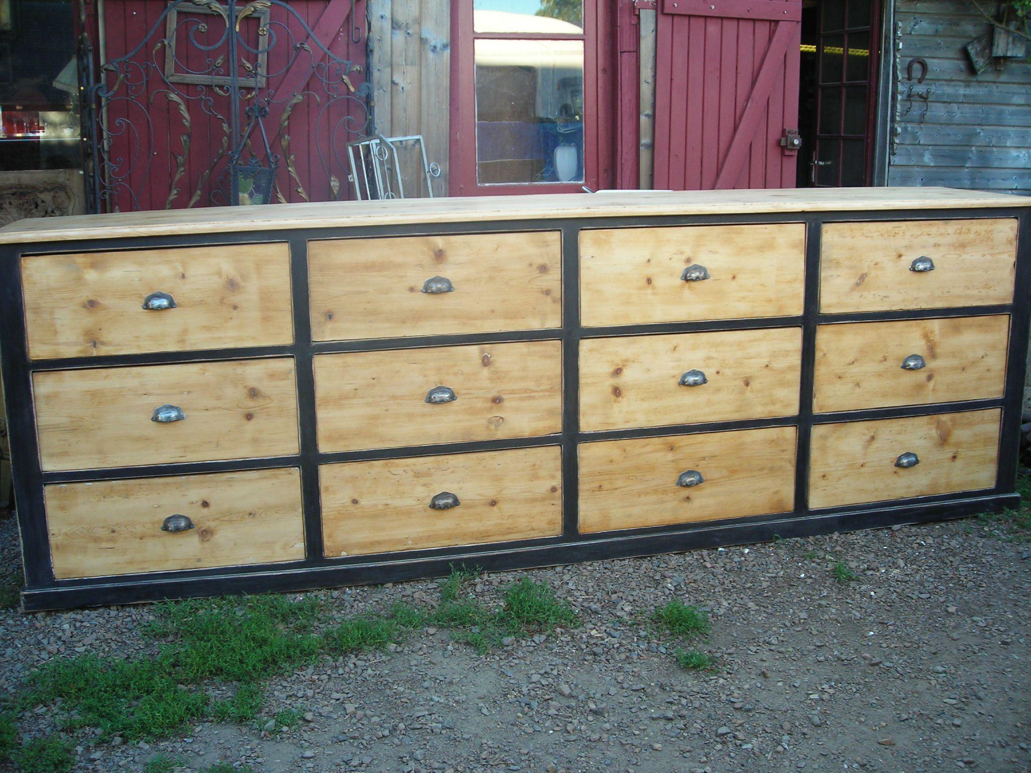 Meuble de mercerie 12 tiroirs meuble m tier en 2019 mobilier de salon meuble et meubles en - Restauration meuble industriel ...