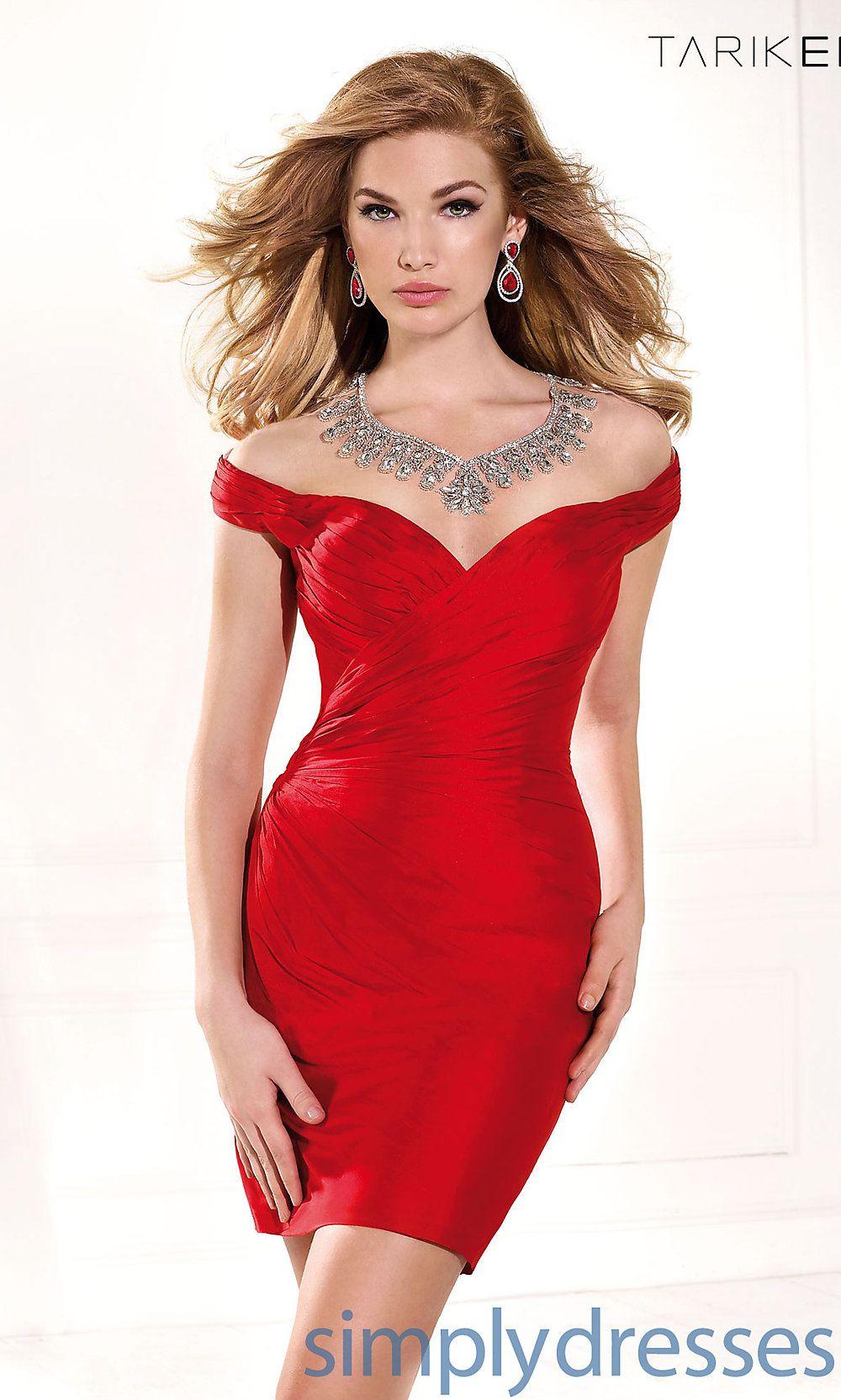 Dress, Short Sweetheart Off the Shoulder Dress by Tarik Ediz ...