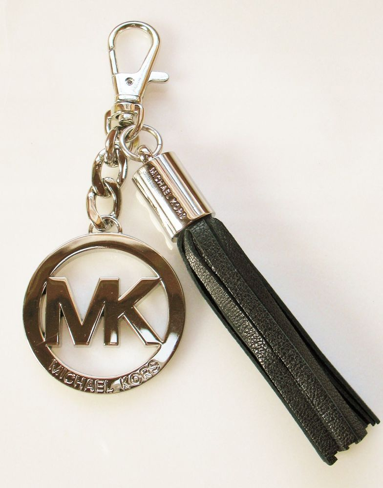 149be3b6e279 MICHAEL KORS MK Metal & Leather Tassel FOB Purse Hook Keychain Black Silver  Tone #MichaelKors