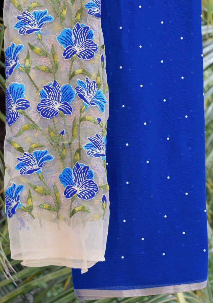 53e8d512af9822 Royal Blue moti saree with embroidered blouse piece Net Blouses, Plain Saree,  Royal Blue