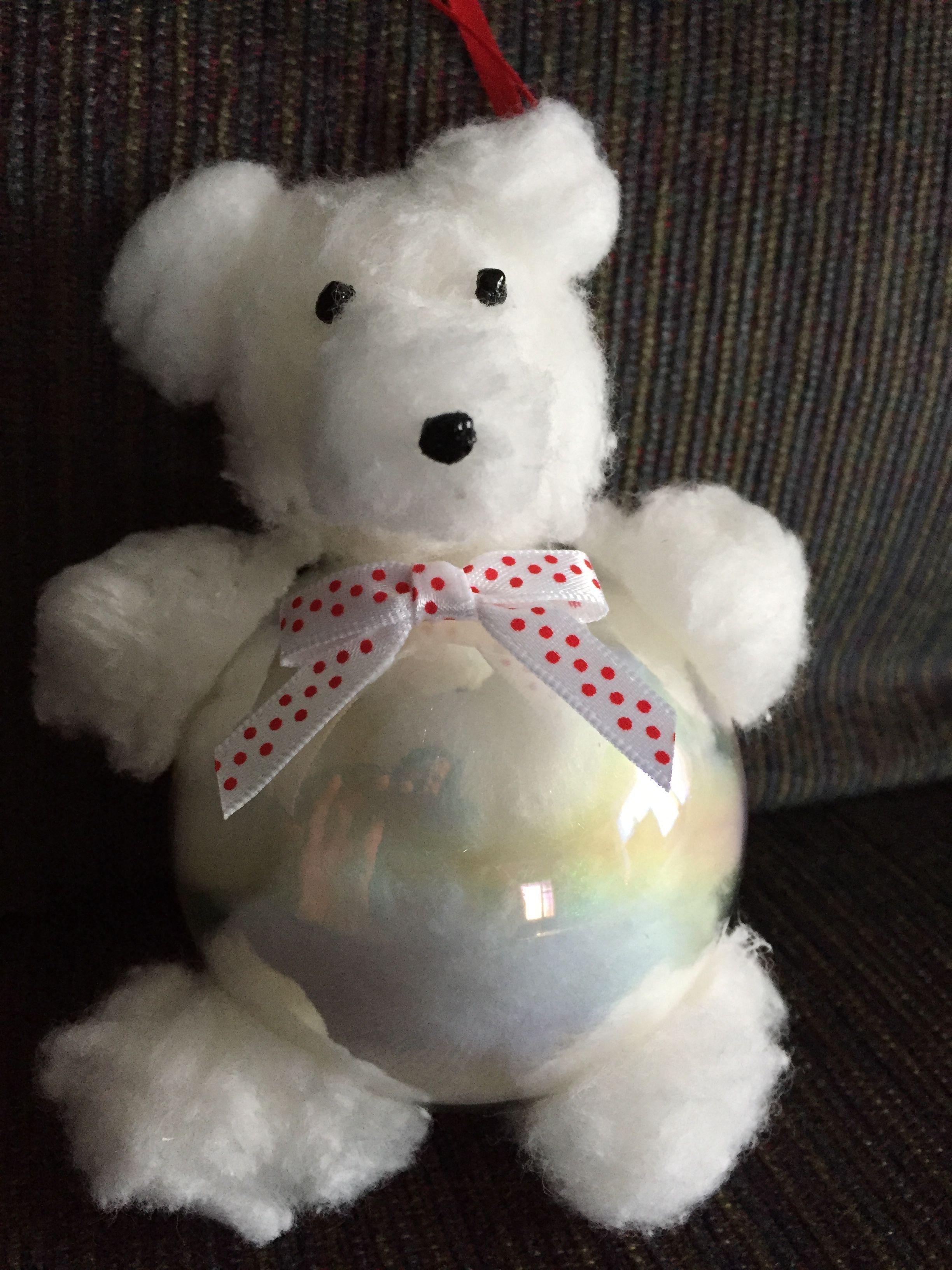 Cotton Ball Polar Bear Ornament Polar Bear Ornaments Christmas Crafts