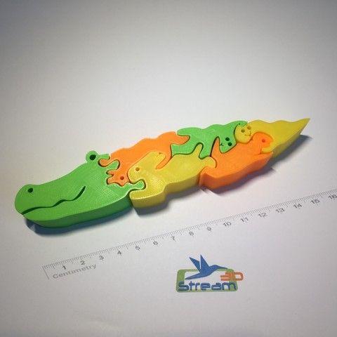 3D printing Alligator 3D puzzle, Stream3D