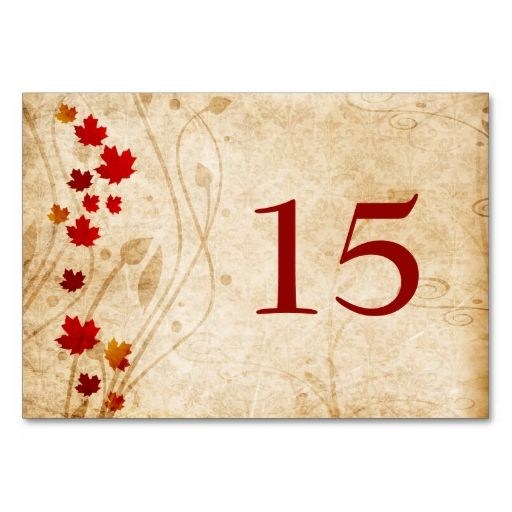Fall maple leaves, rustic wedding table numbers table card