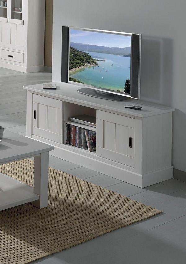 Meubles tv en bois massif en teck au design scandinave perfection du blanc meuble tv bois - Meuble tv gain de place ...
