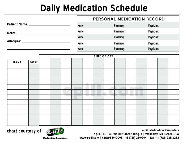 Free Daily Medication Schedule  Free Daily Medication Chart To