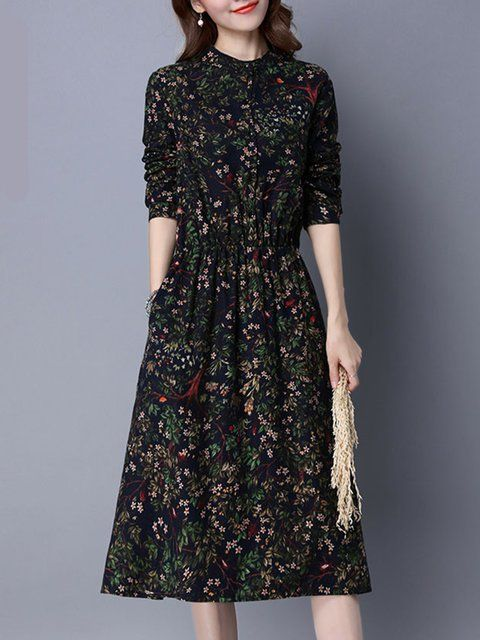 5632b22e4 Dark Blue A-line Floral Long Sleeve Print Dress in 2019 | Personal ...