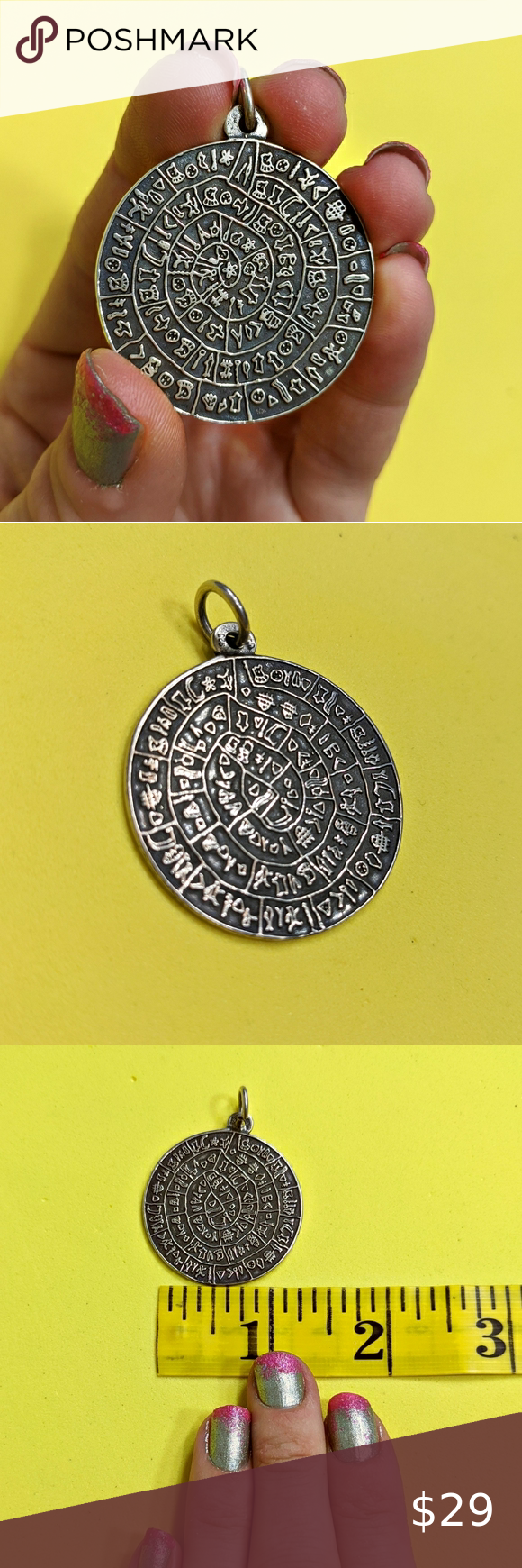 Sterling Pictograph Cave Writing Stamp Pendant Sterling Silver Pictograph Cave Writing Stamped Mandala Large Circular Pendant Double sided pendant  Just pendant included...