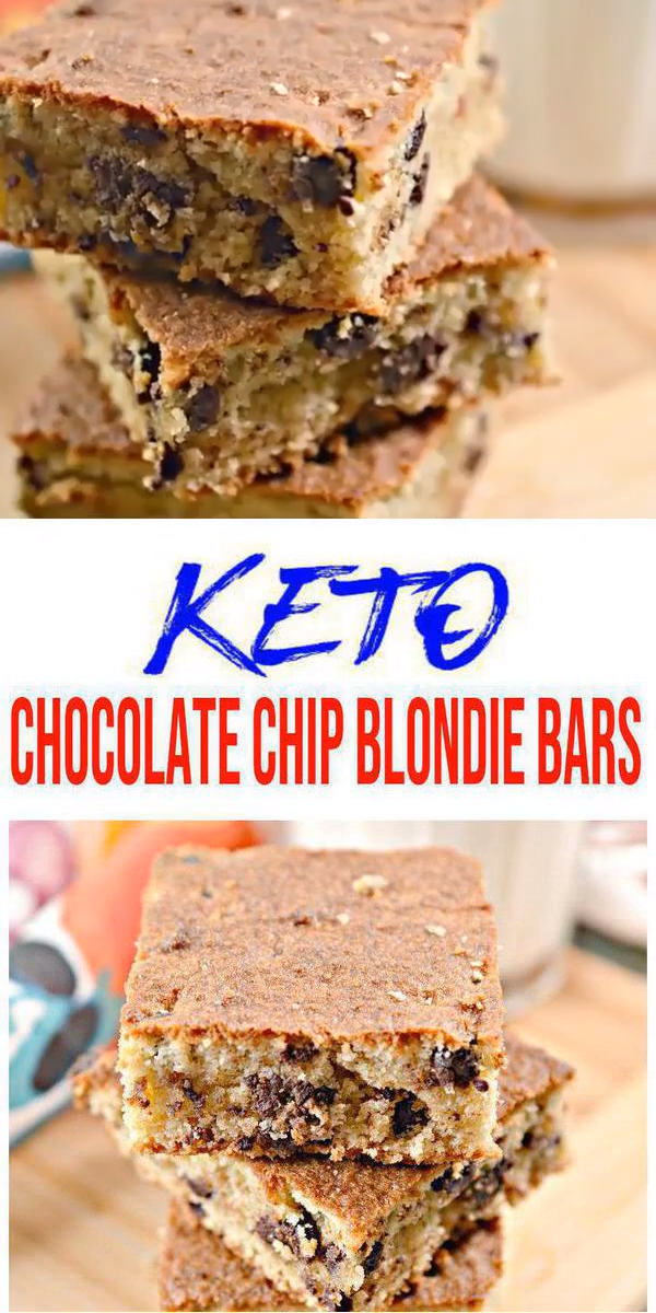 BEST Keto Blondies! Low Carb Keto Chocolate Chip Blondie Bar Idea – Sugar Free – Quick & Easy Ketogenic Diet Recipe – Completely Keto Friendly images