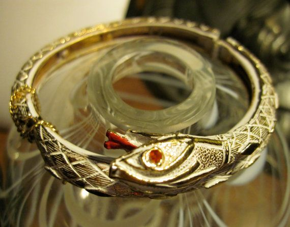 Vintage ART Red Eyed SNAKE Cuff Bracelet by zoecatglitzanglamour