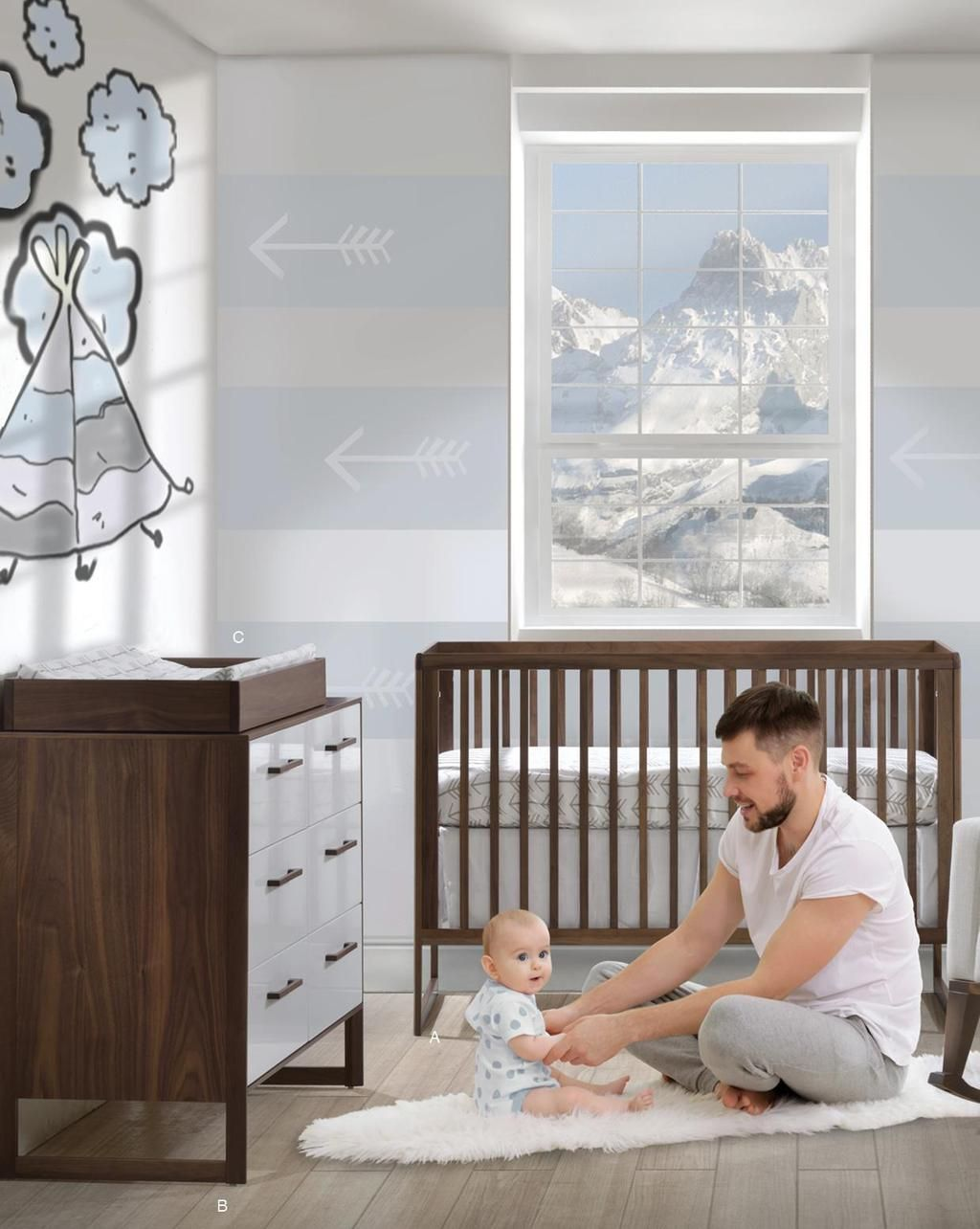 Natart Modern Design Rio Collection Baby furniture