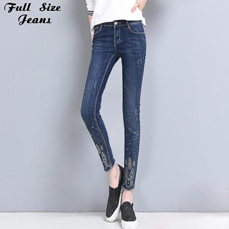 89f2872bb41cb 28.08  Watch now - Spring Plus Size Rhinestone Nine Jeans 4Xl 5Xl 6Xl  Female Oversized. Slim Fit TrousersNine ...