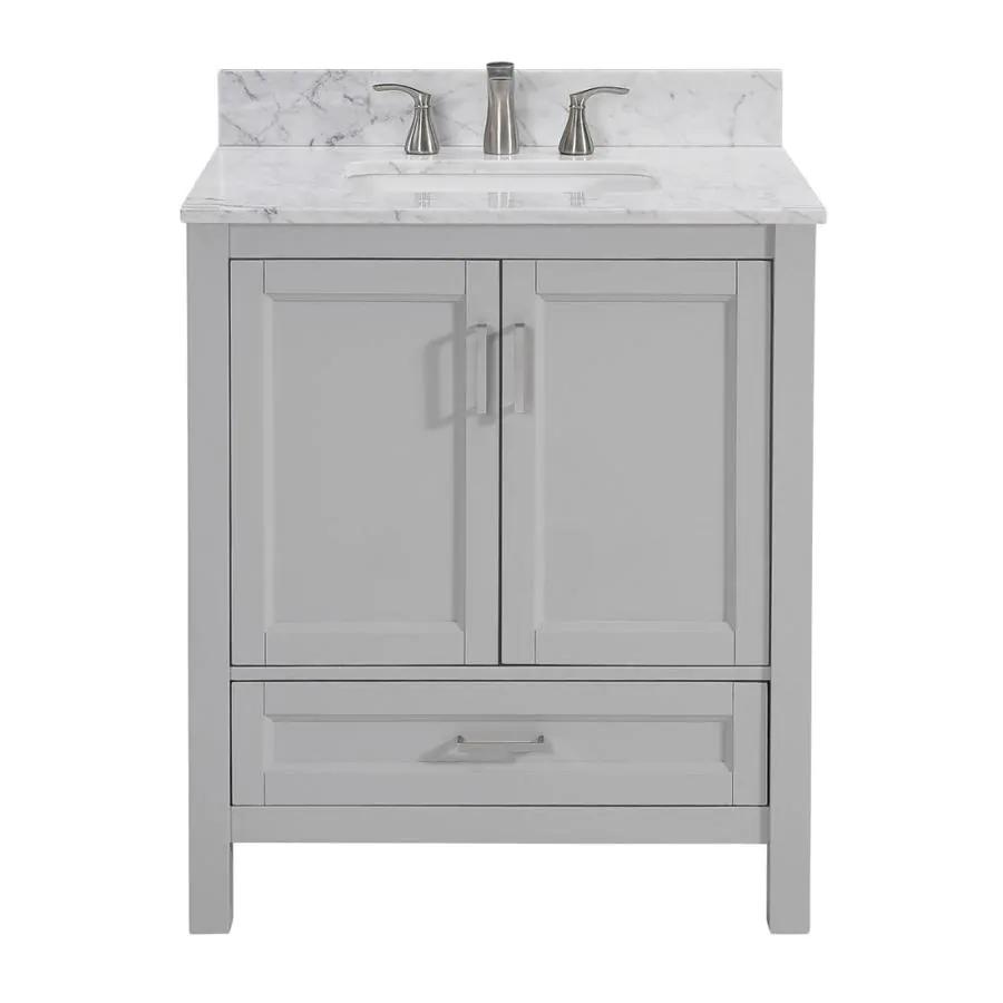 Durham 30 In Light Gray Undermount Single Sink Bathroom Vanity With Carrara Natural Marble Top Lowes Com In 2021 Bathroom Sink Vanity Single Sink Bathroom Vanity Bathroom Vanity Tops