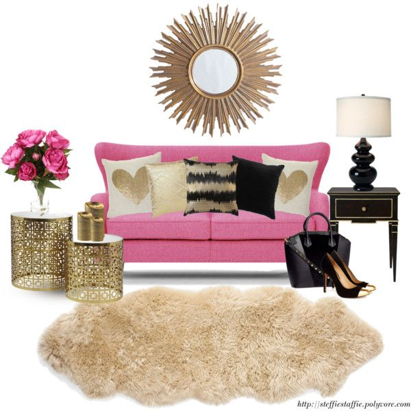 Charming Girly Living Room: Black, Gold U0026 Pink By Steffiestaffie On Polyvore  Featuring Interior, Interiors, Interior Design, Home, Home Decor, Interior  Decou2026