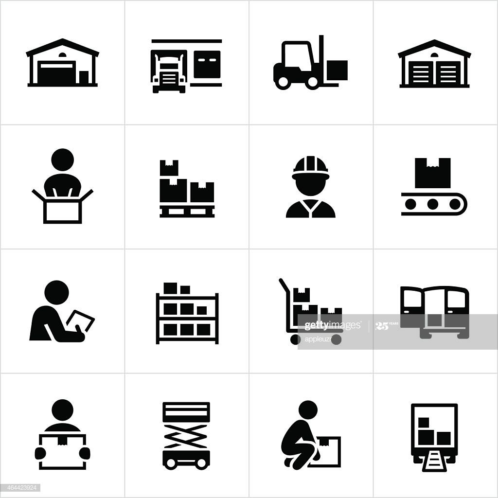 Black Warehouse And Distribution Icons Warehouse Storage Facility Clever Logo Design Clever Logo Icon Illustration