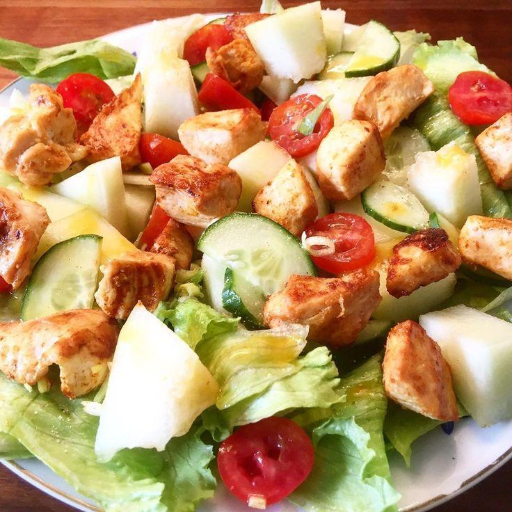 Gemischter Salat mit Honigmelone, gebratener Hähnchenbrust und Honig-Senf-Vigna ...   - weightlossmotivation -