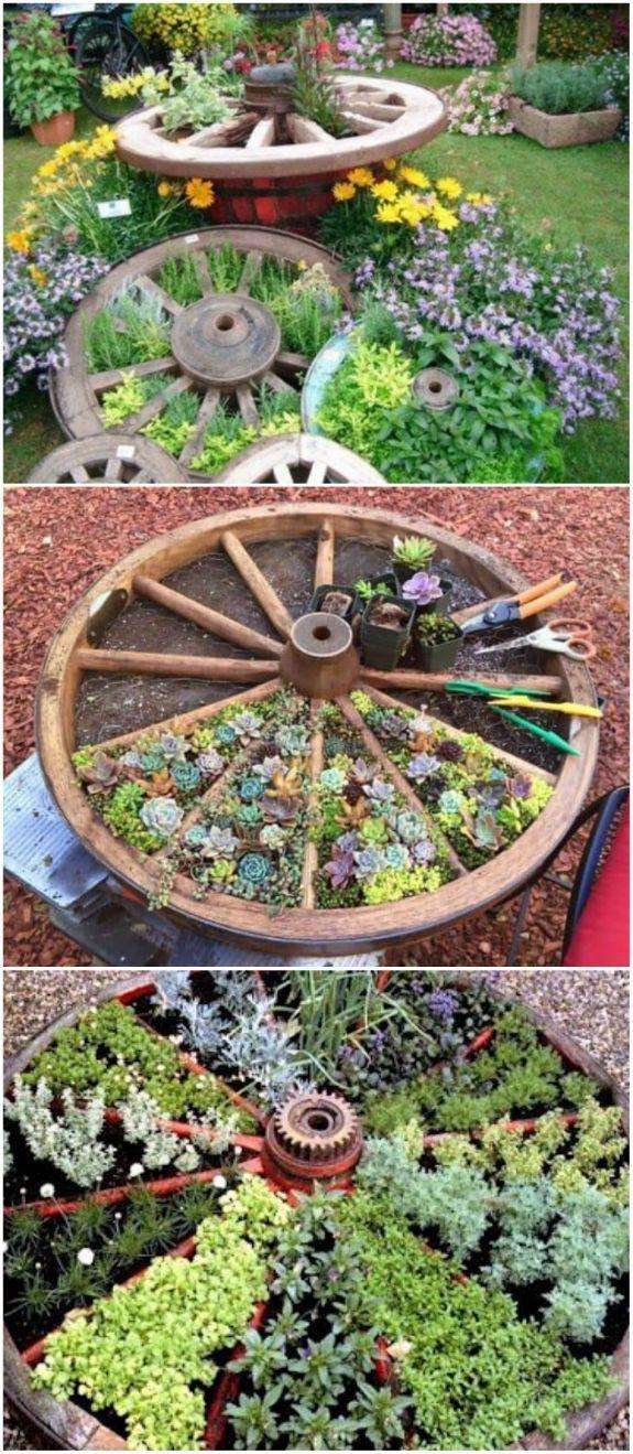 Photo of Wagon Wheel Herb Garden Design Ideas – The WHOot #Cactus #Cactus art #Cactus gar…
