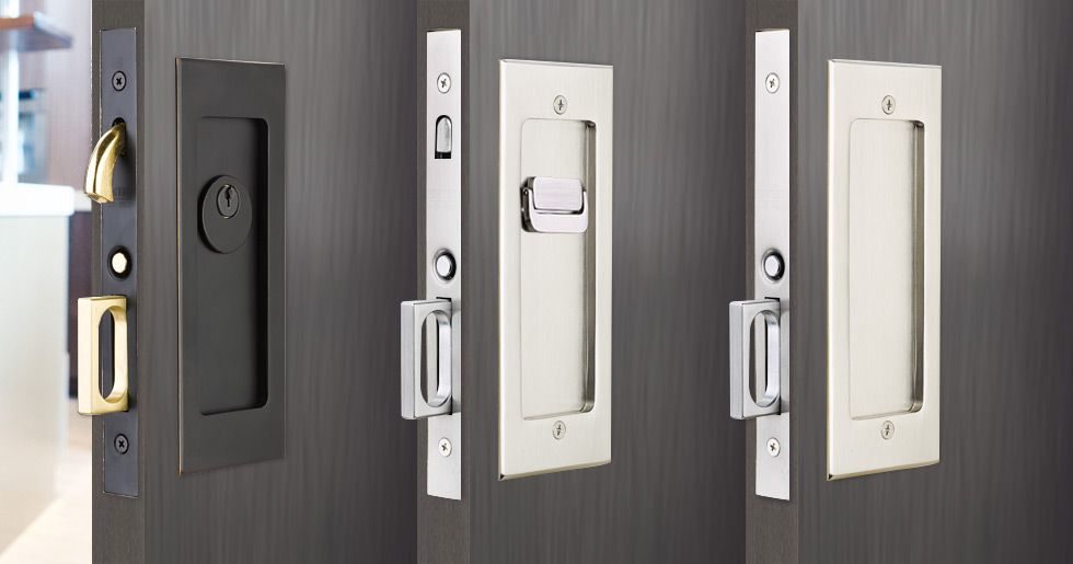 Modern rectangular pocket door mortise lock emtek for Modern glass pocket doors