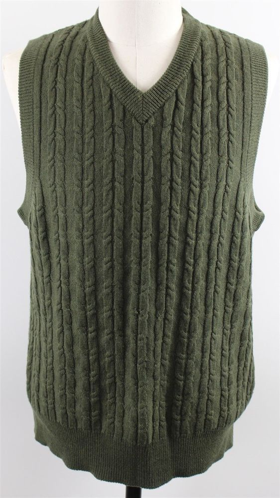 ORVIS Sweater VEST Large GREEN Wool CABLE Knit MENS Size SZ ...