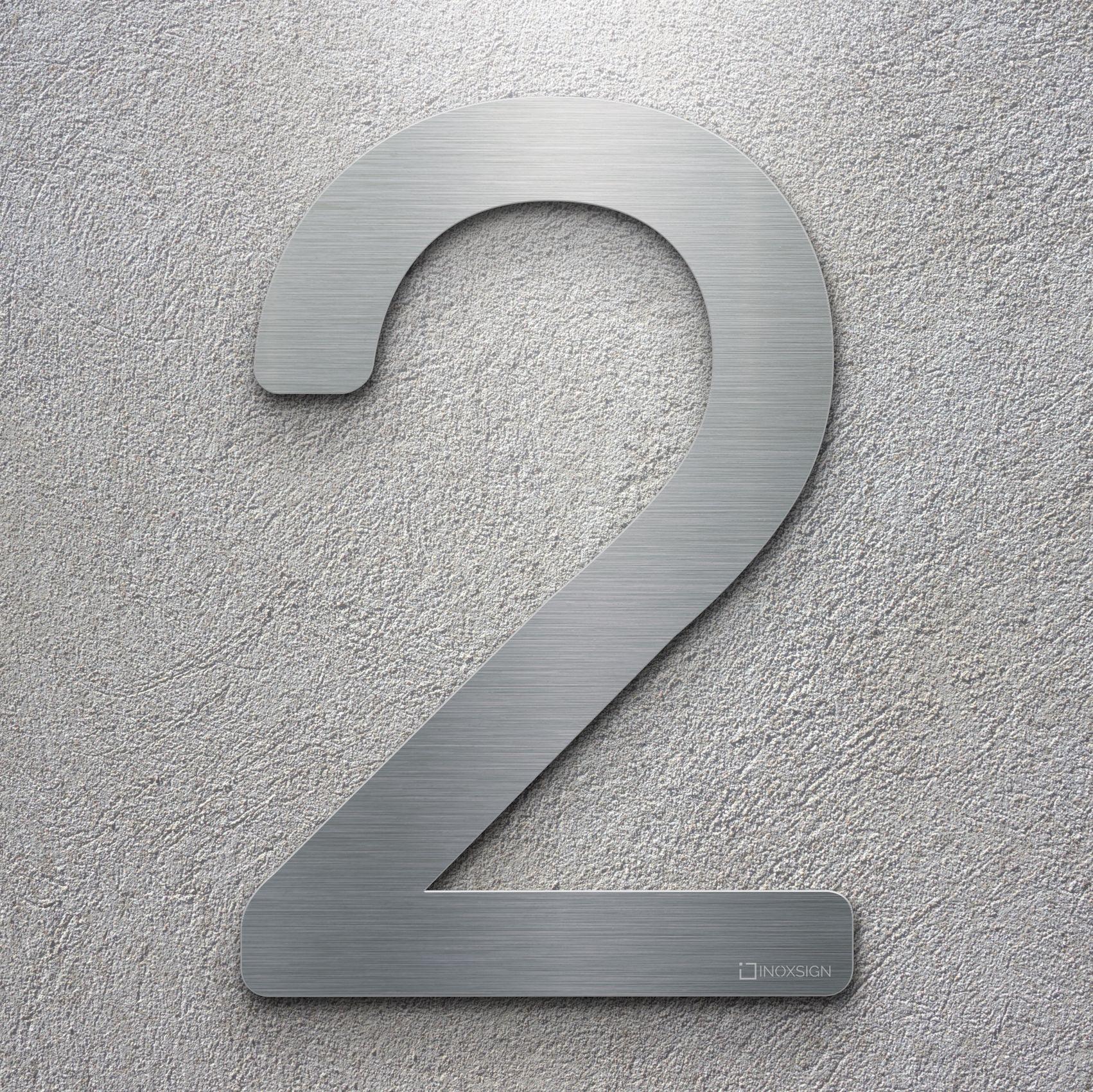 Neu inoxsign edelstahl hausnummer 2 moderne hausnummern aus edelstahl gebürstet design hausnummernschilder erhältlich als zahlen und buchstaben